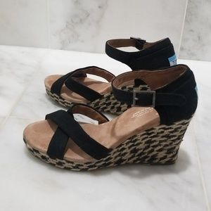Tom's Black MIxed Rope Strapy Wedges